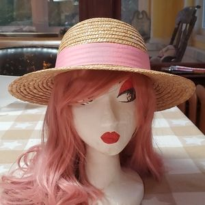 Vintage Straw Hat with Pink Ribbon